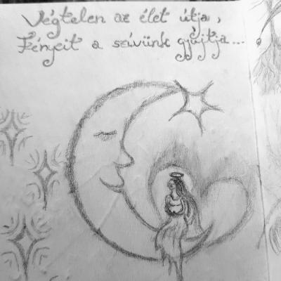 Fogyó Hold rajz. Szabó Diána.